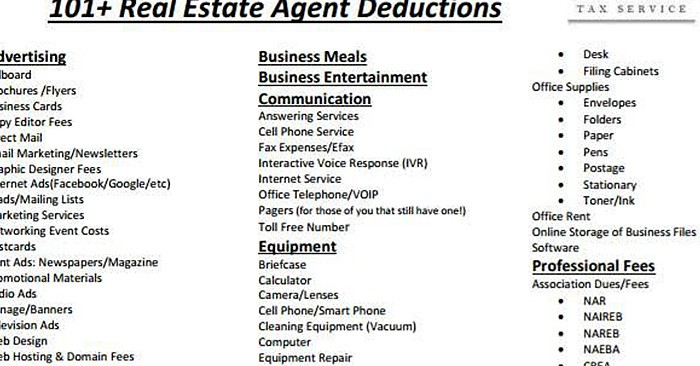 Cheat Sheet Of  Legal Tax Deductions For Real Estate Agents