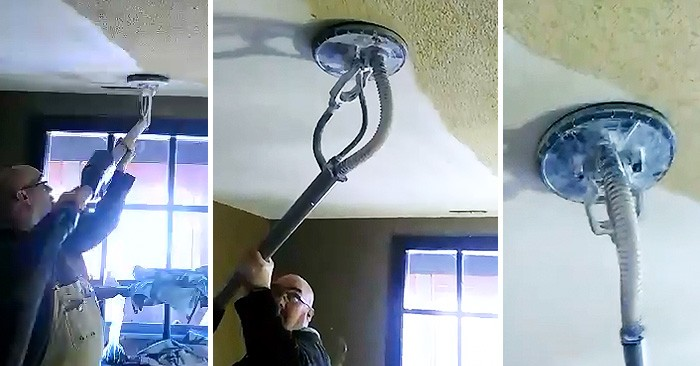 Man Removes Ugly Popcorn Ceiling In Just Seconds With