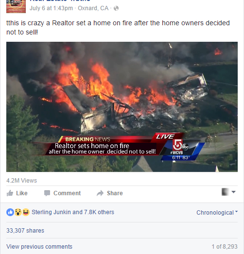 Realtor sets home on fire after losing the listing! Or did he?